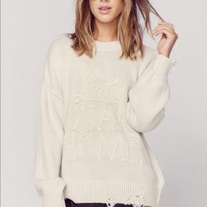 Wildfox let's stay home destroyed sweater